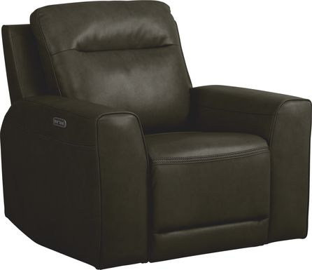 Bargotti Charcoal Leather Dual Power Recliner