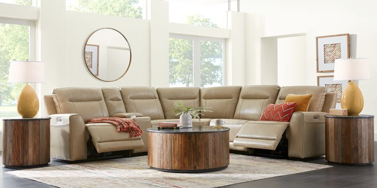 Bargotti Stone Leather 6 Pc Dual Power Reclining Sectional