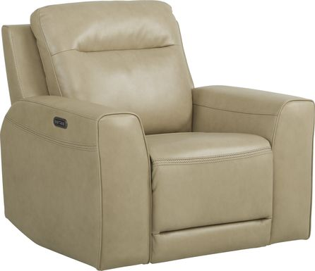 Bargotti Stone Leather Dual Power Recliner