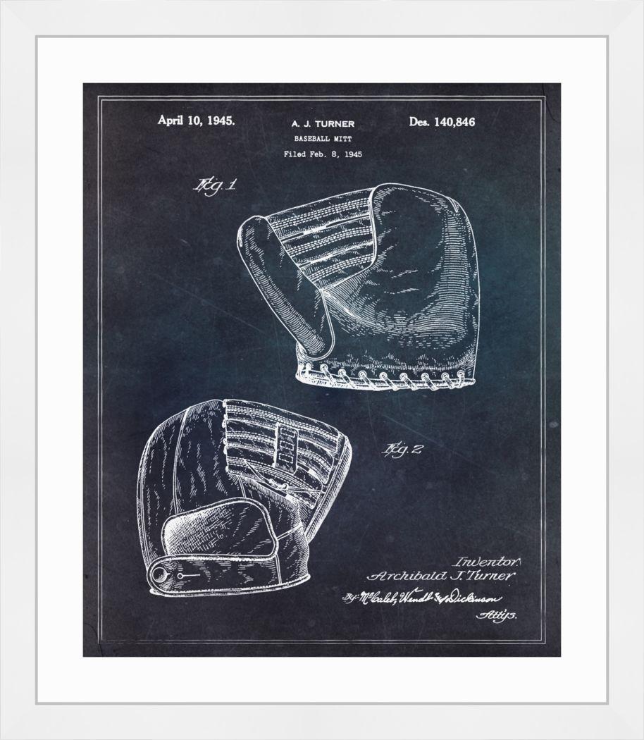 Baseball Glove Blueprint Black Artwork