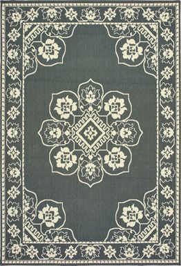 Bassbrook Gray 6'7 x 9'6 Indoor/Outdoor Rug