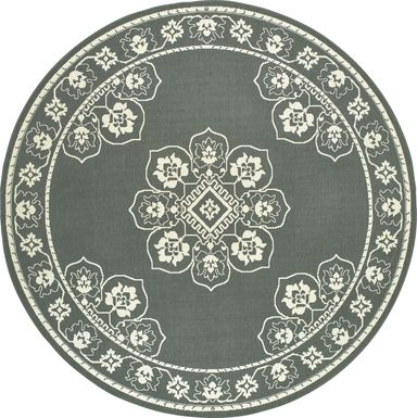 Bassbrook Gray 7'10 Round Indoor/Outdoor Rug