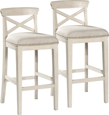 Battsford White Barstool, Set of 2