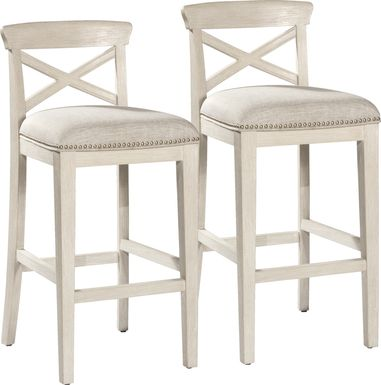 Battsford White Counter Height Stool, Set of 2