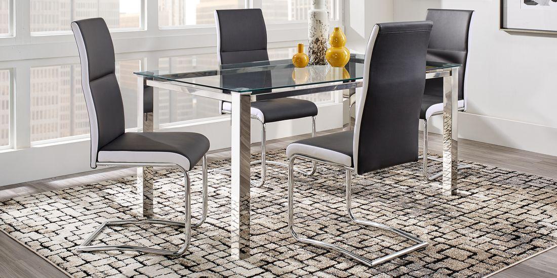contemporary black 5 piece dining room set