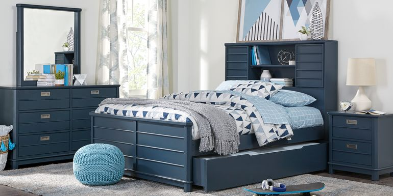 Kids Bay Street Blue 5 Pc Twin Bookcase Bedroom