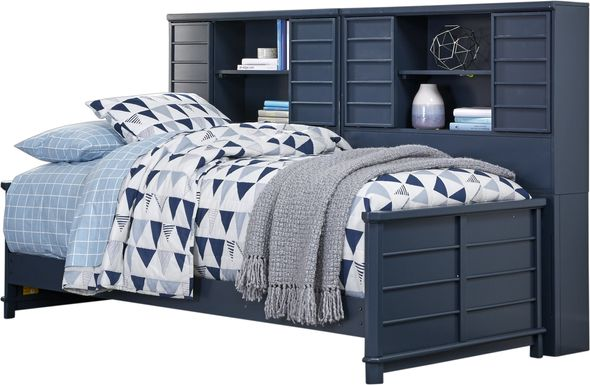 Bay Street Blue 5 Pc Twin Bookcase Daybed