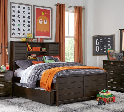 Kids Bay Street Charcoal 5 Pc Full Bookcase Bedroom