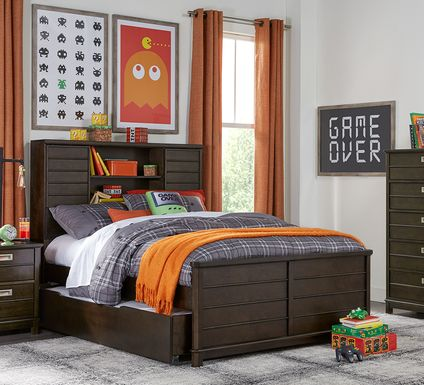 Kids Bay Street Charcoal 5 Pc Twin Bookcase Bedroom