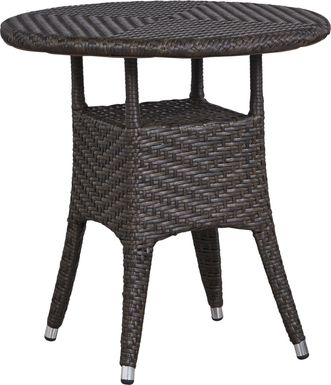 Bay Terrace Brown Wicker 28 in. Round Outdoor Dining Table