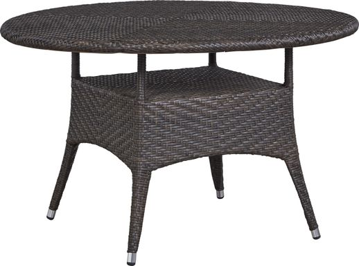 Bay Terrace Brown Wicker 48 in. Round Outdoor Dining Table