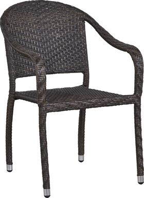 Bay Terrace Brown Wicker Outdoor Arm Chair