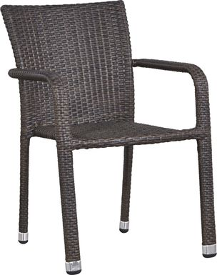 Bay Terrace Brown Wicker Square Back Outdoor Arm Chair