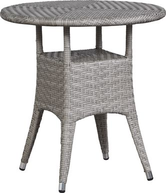 Bay Terrace Gray Wicker 28 in. Round Outdoor Dining Table