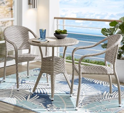 Bay Terrace Gray Wicker 3 Pc 28 in. Round Outdoor Dining Set