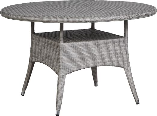Bay Terrace Gray Wicker 48 in. Round Outdoor Dining Table