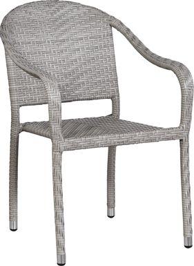 Bay Terrace Gray Wicker Outdoor Arm Chair