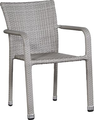 Bay Terrace Gray Wicker Square Back Outdoor Arm Chair