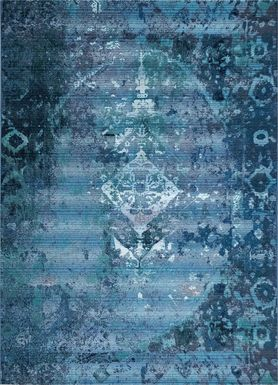 Baylin Blue 6'6 x 9'4 Indoor/Outdoor Rug