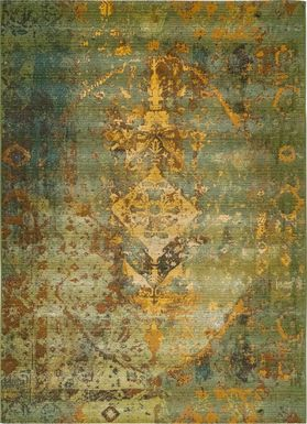 Baylin Green 6'6 x 9'4 Indoor/Outdoor Rug