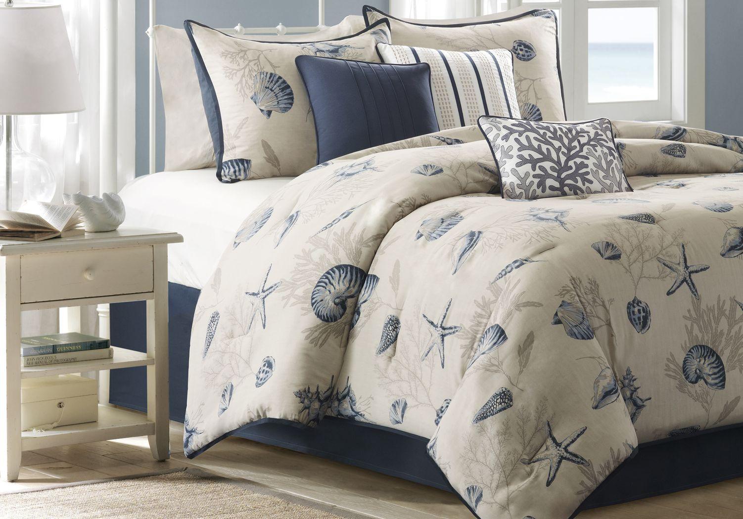 Beach Point Ivory 7 Pc Queen Comforter Set