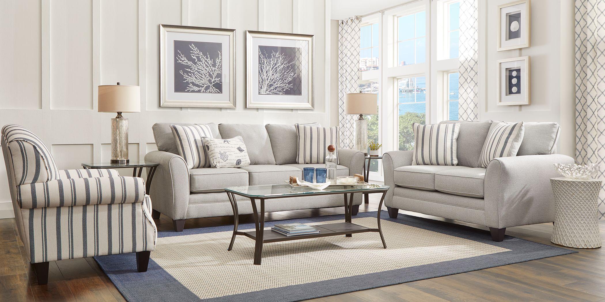 Beachfront Silver 2 Pc Living Room