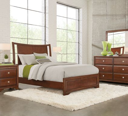 Belcourt Cherry 5 Pc Curved Sleigh Panel Queen Bedroom