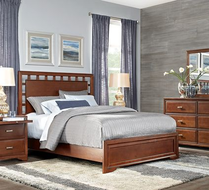 Belcourt Cherry 5 Pc Queen Lattice Bedroom