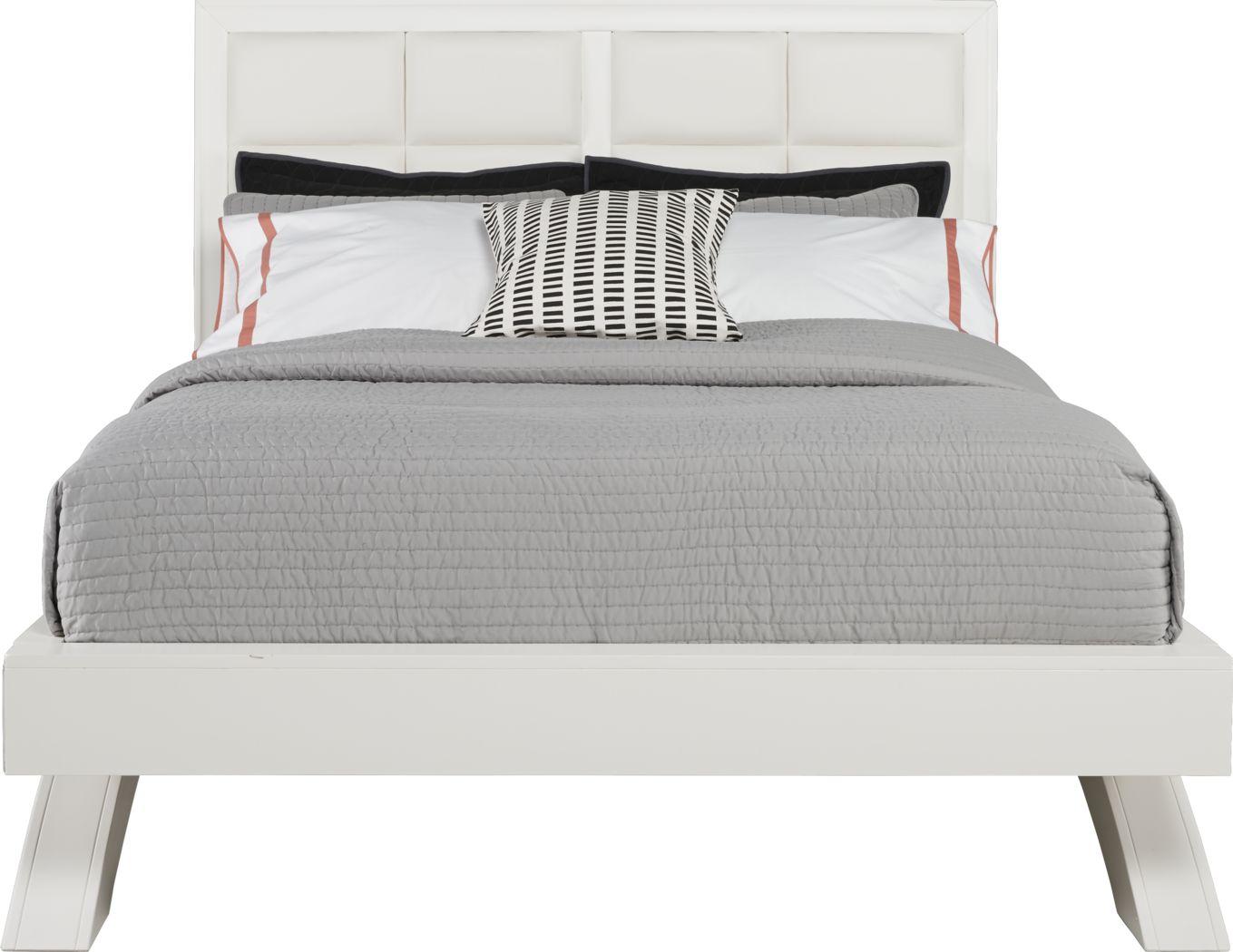 Belcourt White 3 Pc King Upholstered Platform Bed