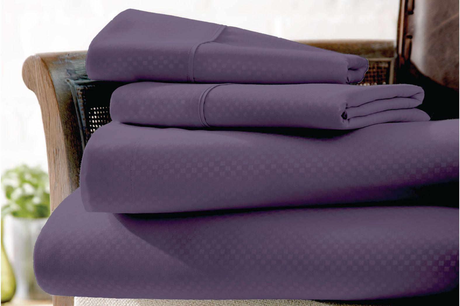 Belden Landing IV Purple 4 Pc King Bed Sheet Set