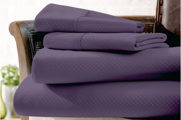 Belden Landing IV Purple 4 Pc King Bed Sheet Set