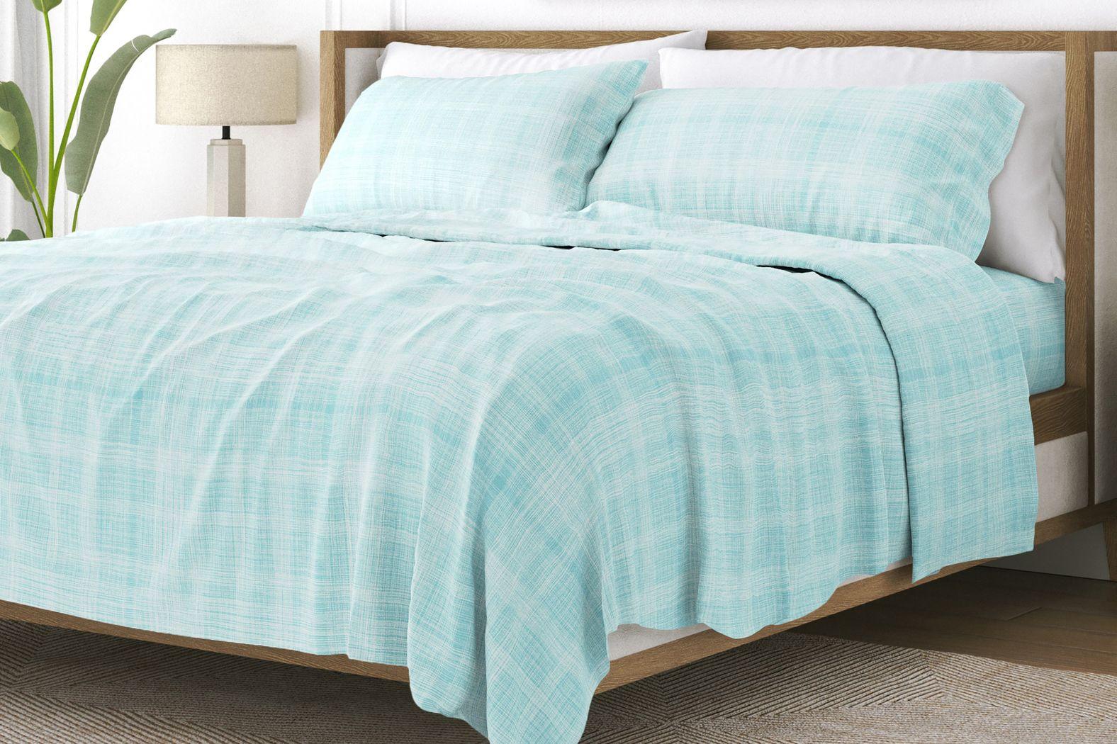 Belden Landing IX Blue 4 Pc King Bed Sheet Set