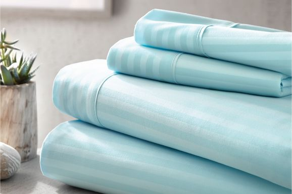 Belden Landing V Blue 4 Pc King Bed Sheet Set