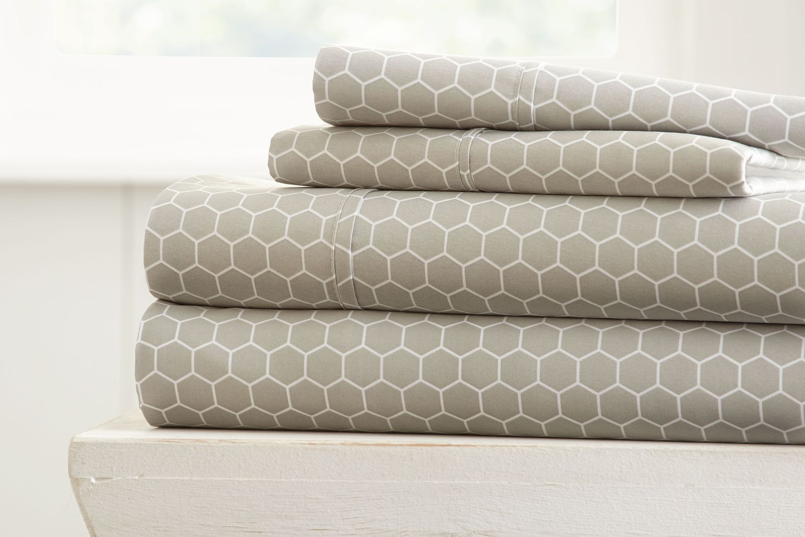 Belden Landing X Light Gray 4 Pc King Bed Sheet Set
