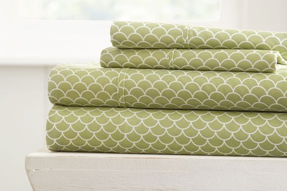 Belden Landing XI Green 4 Pc King Bed Sheet Set