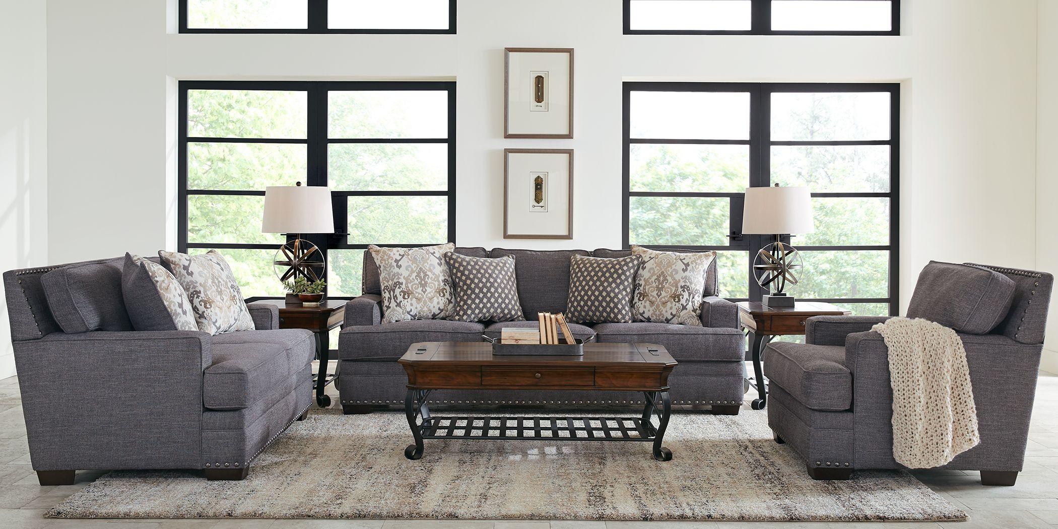 2 Piece Living Room Sofa Sets Of Furniture, Grey Living Room Stools