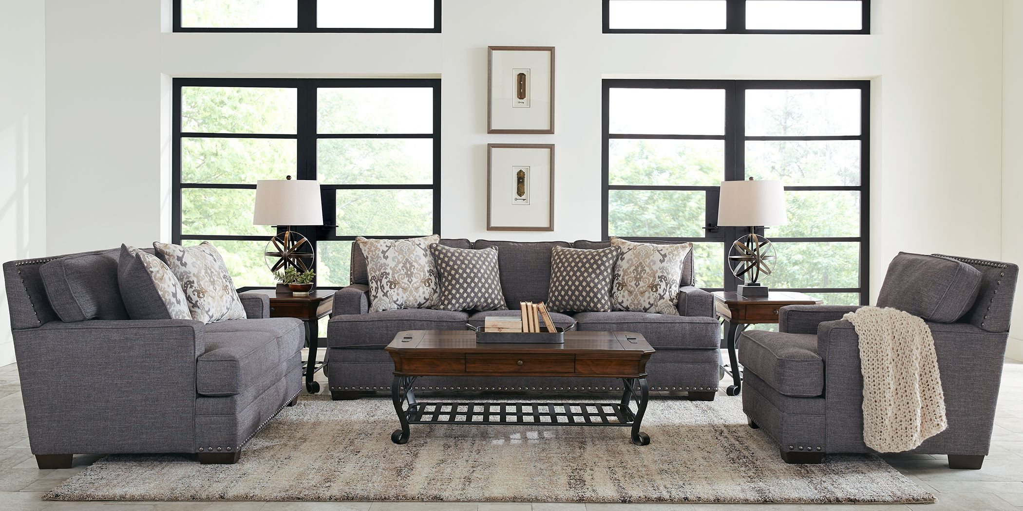 Belhaven Graphite 7 Pc Living Room
