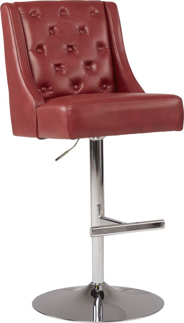 Benji Red Adjustable Swivel Barstool