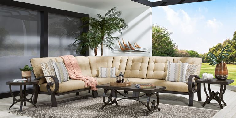 Bermuda Bay Aged Bronze Outdoor 4 Pc Sectional with Straw Cushions