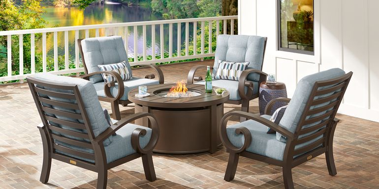 Bermuda Bay Aged Bronze 5 Pc Fire Pit Set with Mist Cushions