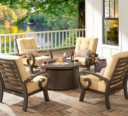 Bermuda Bay Aged Bronze 5 Pc Fire Pit Set with Straw Cushions