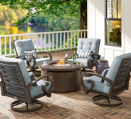 Bermuda Bay Aged Bronze 5 Pc Fire Pit Set with Swivel Chair and Mist Cushions