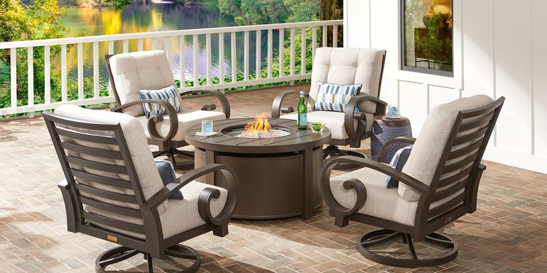 Bermuda Bay Aged Bronze 5 Pc Fire Pit Set with Swivel Chairs and Parchment Cushions