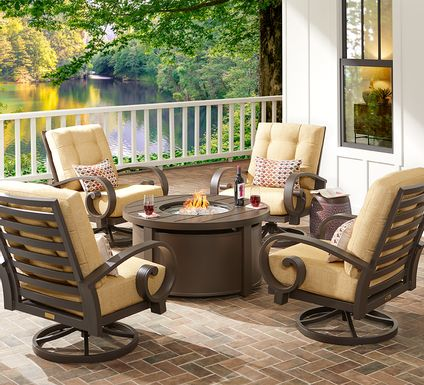 Bermuda Bay Aged Bronze 5 Pc Fire Pit Set with Swivel Chairs and Straw Cushions