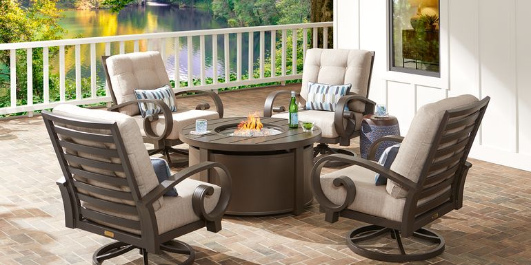 Bermuda Bay Aged Bronze 5 Pc Fire Pit Set with Swivel Chairs and Wren Cushions