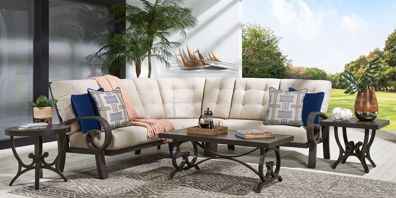 Bermuda Bay Aged Bronze Outdoor 3 Pc Sectional with Wren Cushions