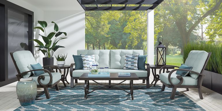 Bermuda Bay Aged Bronze Outdoor 4 Pc Seating Set with Mist Cushions