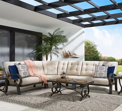 Bermuda Bay Aged Bronze Outdoor 4 Pc Sectional with Wren Cushions