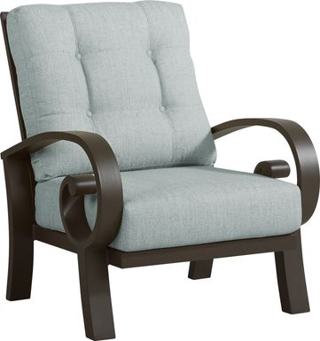 Bermuda Bay Aged Bronze Outdoor Club Chair with Seafoam Cushions
