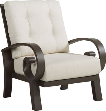 Bermuda Bay Aged Bronze Outdoor Club Chair with Parchment Cushions